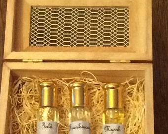 Wooden Gift Box Of Gold,Frankincense,Myrrh 100% Pure Essential Oil