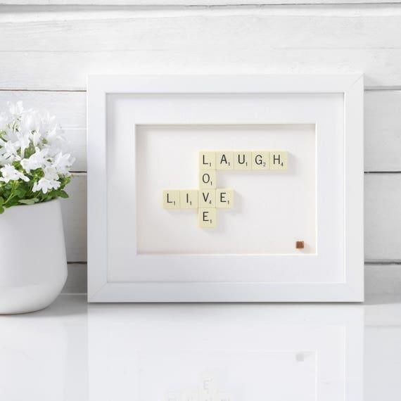 Handmade Live Laugh Love Scrabble Art. Scrabble Art Frame.