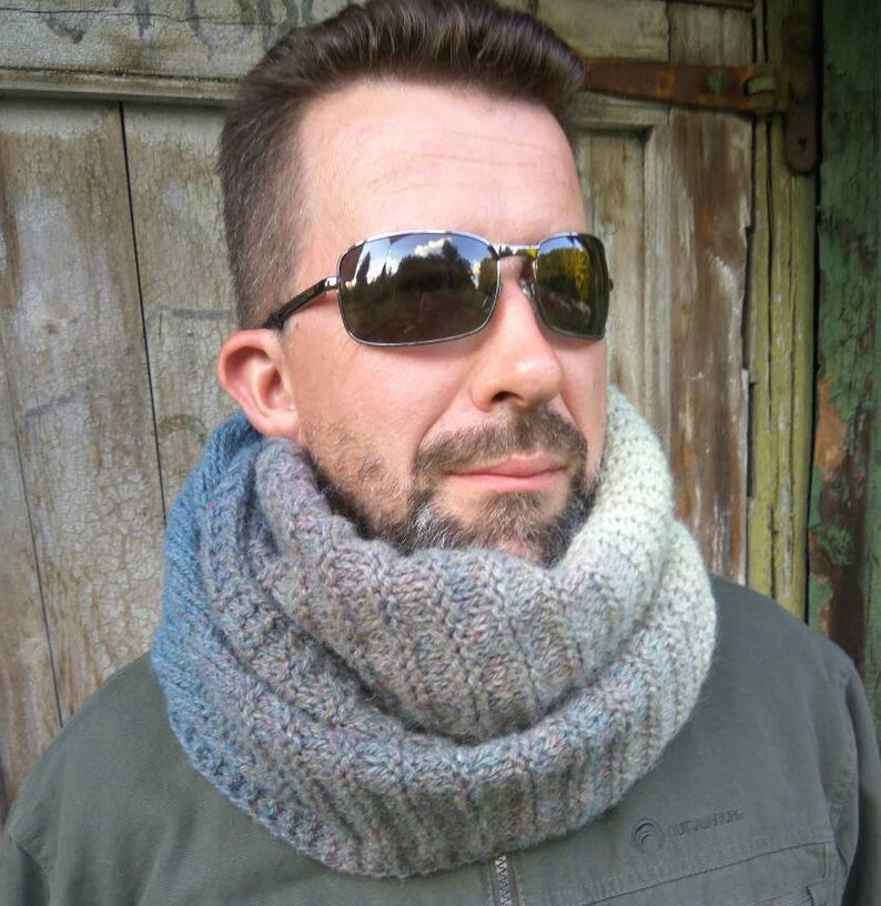 Hooded scarf for men knitted with organic wool Gift boyfriend ideas