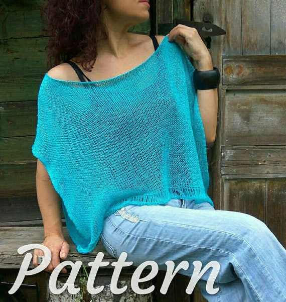 Easy To Knit Poncho Pattern How To Knit Poncho Sweater Easy Etsy