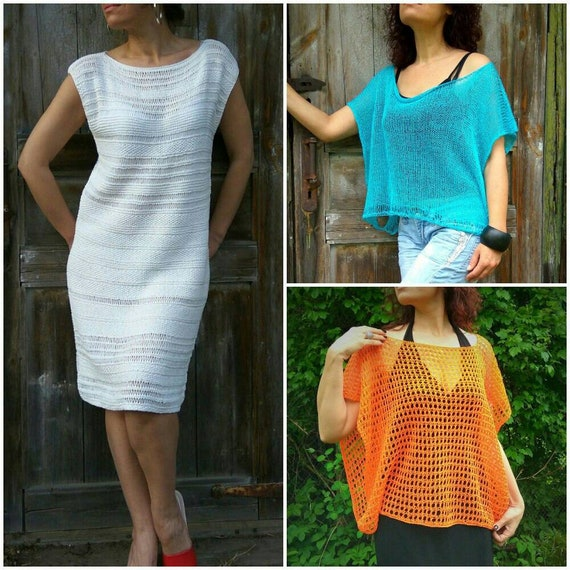 Free Knitting Pattern For Women How To Knit Dress Poncho Etsy