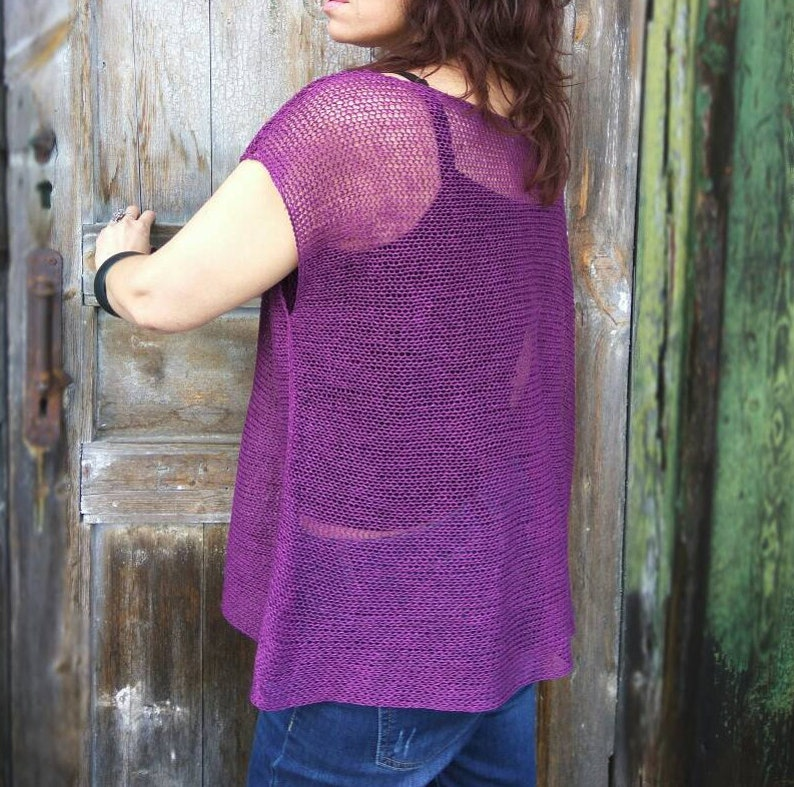 Women/'s poncho sweater Asymmetrical top knitted with linen