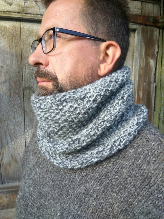 Snood grosse gris laine à capuche écharpe Snood pour homme   Etsy 35aa696de2b