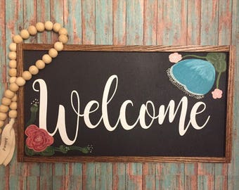 Welcome Wood Sign, Rustic Welcome Sign, Welcome Home, Wood Sign, 8x15 rustic home decor, farmhouse decor, wood sign with florals, decor