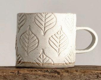 Ceramic mug - stoneware pottery mug - handmade leaf design - coffee, tea - Vanilla white - Christmas present, house warming gift