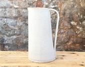 Handmade pottery jug, ceramic stoneware flower vase - white, water, milk, flower vase, tall jug, present, gift, wedding, birthday, British