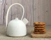 Teapot - handmade ceramic pottery teapots, white stoneware tea pot, china, hygge, Christmas gift, present, birthday, wedding