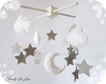 READY TO SHIP Stars and Clouds Baby Mobile - Moon and Stars Mobile - Nursery Mobile Clouds – Hanging Mobile – Stars Mobile – Gender Neutral