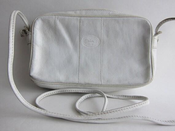 a29d741d472f Longchamp vintage White Leather shoulder bag. Signed.