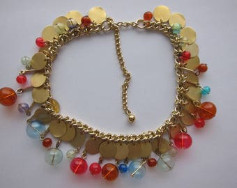1960's, gold Choker multicolor charm bubbles of plexiglass and metal pellets. Rare