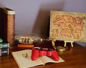 Wood Burned Tamriel Map