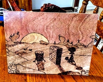 Watch the Sunset with Squidward - SpongeBob Woodburned Art