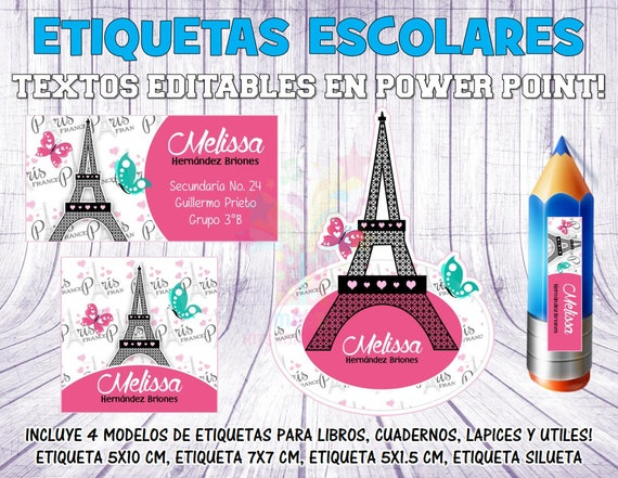 Printable Kit school labels Paris Eiffel Tower editable texts   Etsy