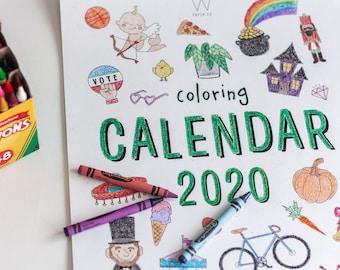 2020 Coloring Calendar