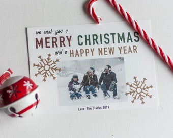 Editable, Printable Photo Christmas Card, We Wish You A Merry Christmas
