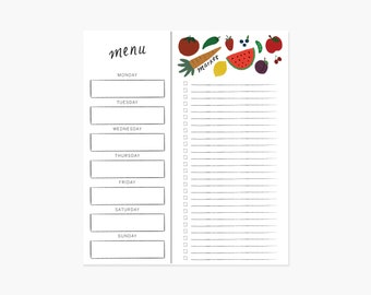 Menu & Shopping List Notepad