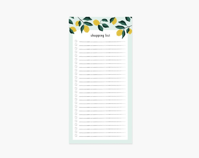 Featured listing image: Shopping List Notepad (Lemons)