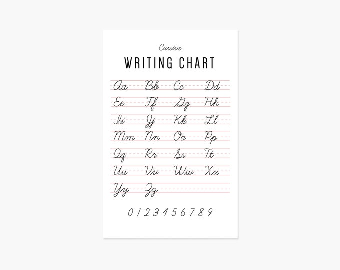 Featured listing image: Cursive Writing Chart Poster