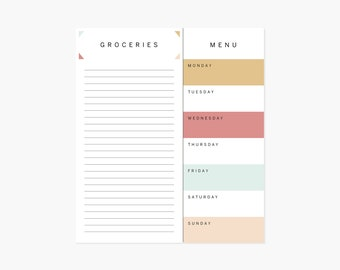 Menu & Shopping List Notepad (Modern)