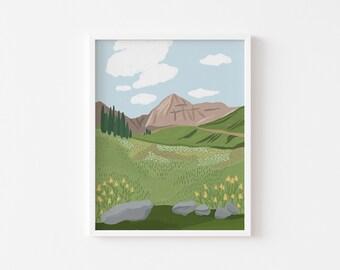 Mount Timpanogos Meadow Print