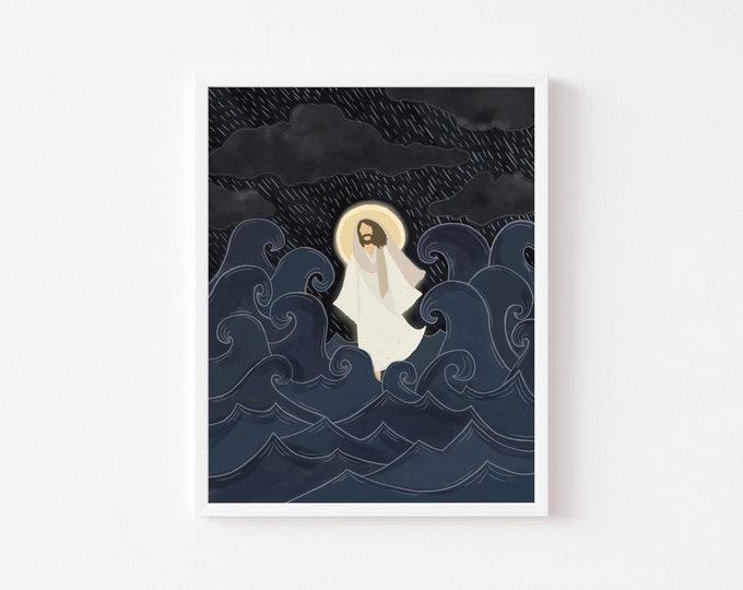 Featured listing image: Peace, Be Still Print • Jesus Christ Painting • LDS Art • Christ Illustration • Religious Art • Jesus Portrait • Jesus Walking On Water