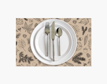 Woodland Paper Placemats • Set of 10 • Fall Table Decor • Disposable Placemats • Thanksgiving Placemats • Dinner Table Decor • Dinner Party