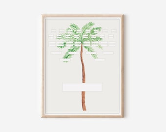 Printable Blank Family Tree Chart - 5 Generation Pedigree - Palm Tree