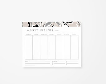 Marble Weekly Planner Notepad • Daily Planner Tear Off Pad • Weekly Planner • Desk Notepad • To Do List
