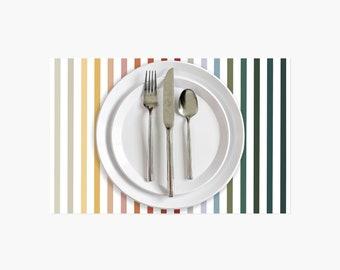 Rainbow Stripe Paper Placemats - 10PK