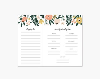 Floral Weekly Meal Planning Notepad • Shopping List • Magnetic Shopping Pad • Grocery List • Gift For Mom