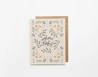 Welcome Baby Greeting Card • Baby Card • Labor Card • Congratulations Baby Card • Blank Card • Expecting Card • Baby Shower Greeting Card
