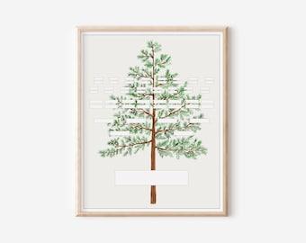 Printable Blank Family Tree Chart - 5 Generation Pedigree - Pine Tree