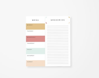 Modern Meal Planning Notepad • Meal Prep • Weekly Planner Tear Off Pad • Magnetic Meal Planner • Food Shopping List • List Pad