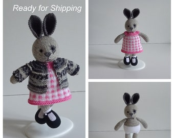 Hand Knitted Little Grey Rabbit in Pink