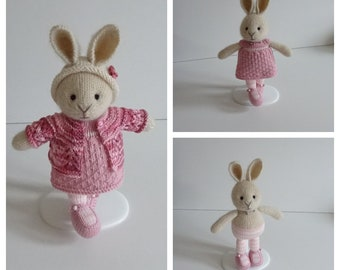 Hand Knitted Little Pink Bunny in a Hat.