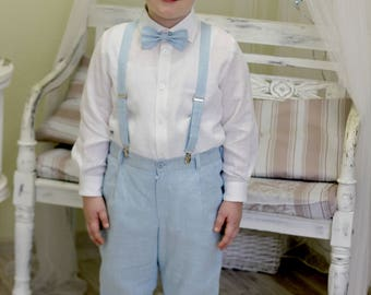 3pcs Baby boy pants,suspenders and bow tie set Toddler linen suit 1st birthday outfit Ring bearer suit Wedding party outfit Baptism outfit