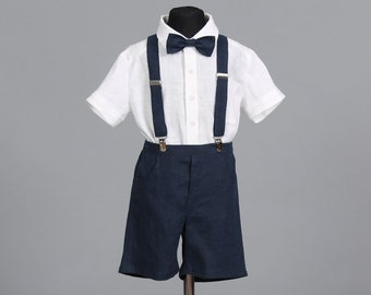 6ae69d68b 2pcs Boys dark blue suspendered linen shorts and bow tie set Boys linen  outfit Ring bearer outfit Wedding party outfit Baptism linen outfit