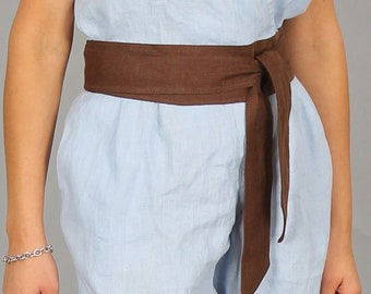 029092059 Wide linen Belt/Wrap Obi linen Belt/Fashion Belt/Women Belts/Tie Belts/Sash  Belt/Stylish Belt/Obi Belt/Brown Belt available in 55 colors