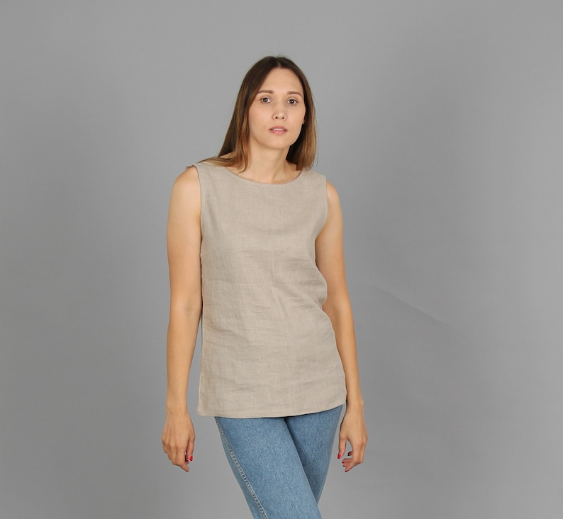 a17cd63196eb05 Simple round neck sleeveless linen top. Linen tank top Basic