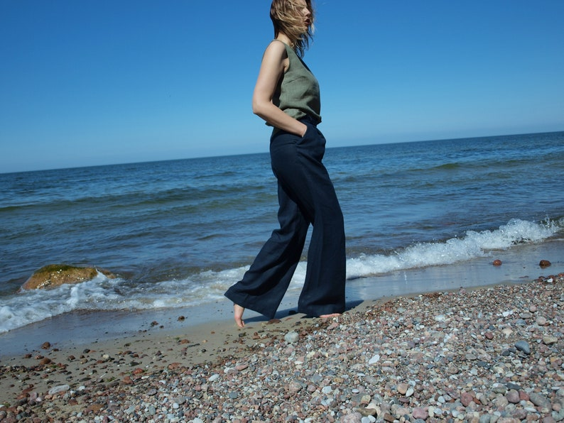 basic linen pants Classic soft linen Women Linen Trousers High Waist Linen Pants dark blue linen pants. Loose linen pants AMANDA