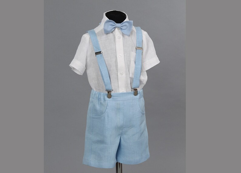 56bf0a6c778 3pcs Boys light blue linen shorts with suspenders shirt and