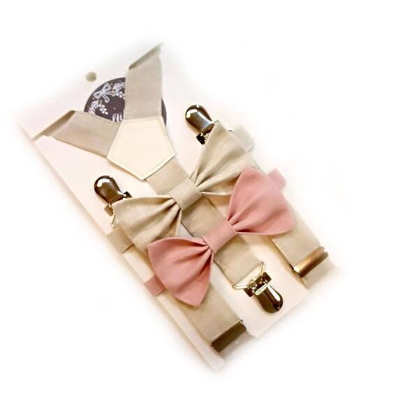 3pcs garçons clair bretelles lin naturel beige ant 2 noeud papillon porteur de l'anneau tenue réglable bretelles et noeud papillon ensemble tenue de baptême
