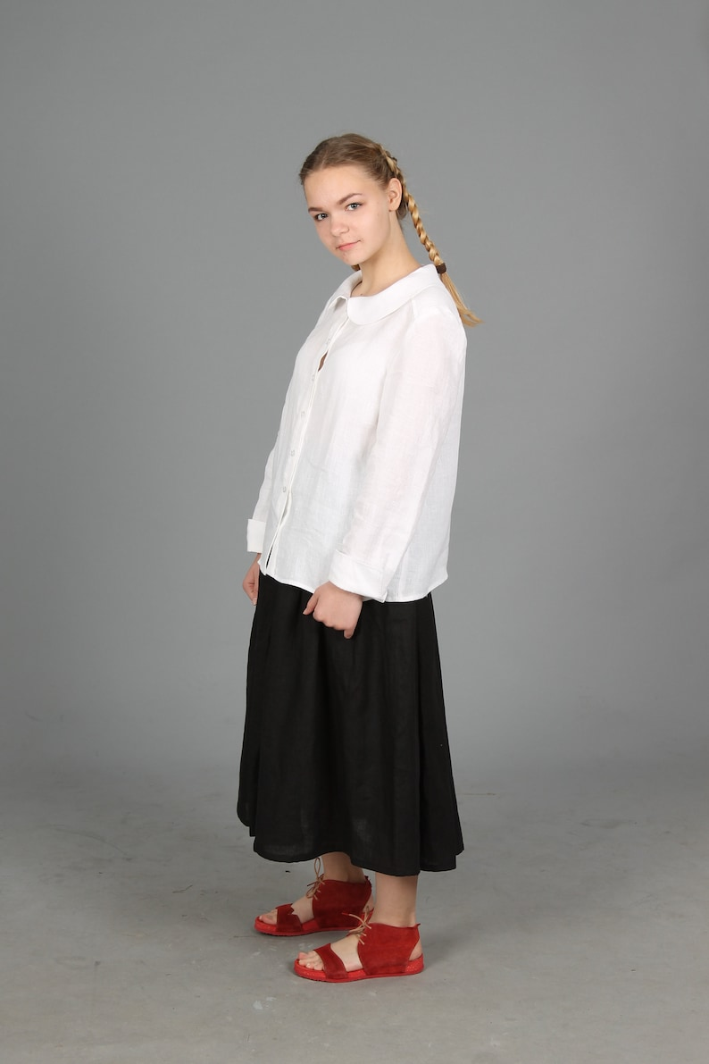 e4db009fbedca Peter Pan collar linen shirt. Basic linen white shirt. Soft