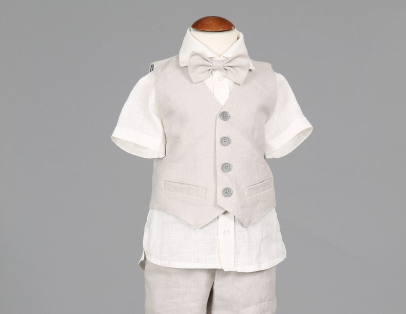 77670bd18 4pcs Boys light grey linen pants vest bow tie and shirt set
