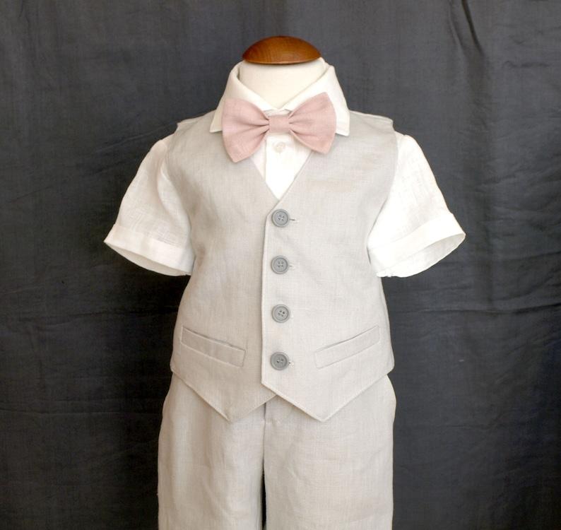 8989217889237 Pantalon en lin gris clair 5pcs-bébé garçon noeud papillon | Etsy