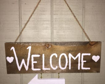 Rustic wood hanging Welcome Sign, handmade, home decor