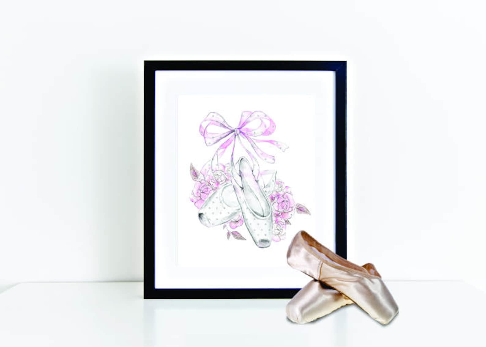 dance gift, ballet shoe print, dancer recital gift, dance print, dance poster, pointe shoes, girl nursery print, girl bedroom de