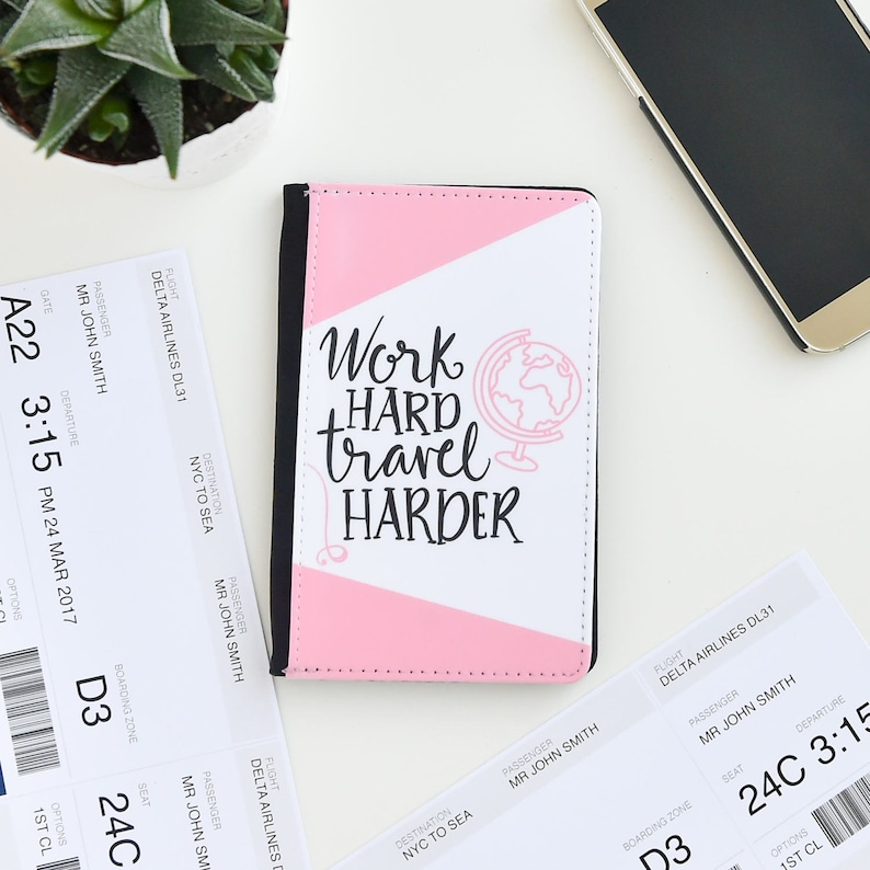 Work Hard Travel Harder Passport Cover Holder Case  Holiday image 0
