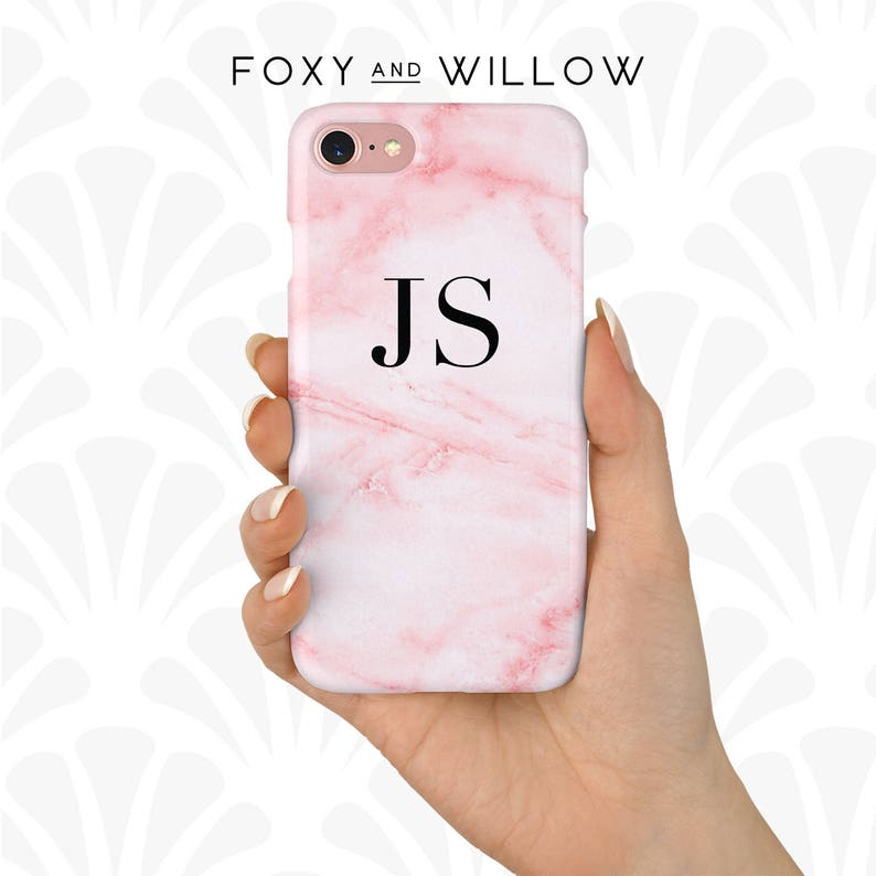 new style 10285 aeb52 Pink Marble Phone Case Personalised Initials iPhone XS, 8, 7, 6S, 5S, SE,  Samsung Galaxy S8, S7, S6 Cover Pink Fashion Phone Case - PC-101