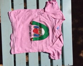 Downward-facing Gnome Baby T-shirt, Soft Cotton in Petal Pink.
